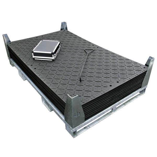 x:tek 46 · 10er Fahrplatten Set Inhalt: 10 Platten a 2,44m² = 24,40m² mit 20 Einzelverbinder Stahl im Koffer, Handhaken, inkl. Stahlpalette und Sicherungswinkeln (Klappwinkel & Radsatz optional)