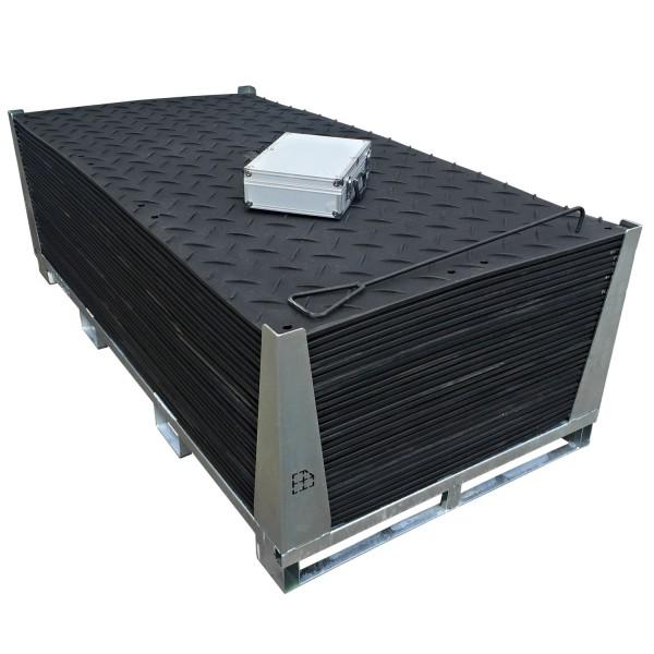 s:tek 48 · 30er Komplett-Set Bodenschutzplatten - Inhalt: 30 Platten a 2,98m² = 89,40m² mit 60 Einzelverbinder Stahl im Koffer inkl. Stahlpalette und Sicherungswinkeln (Klappwinkel & Radsatz optional)