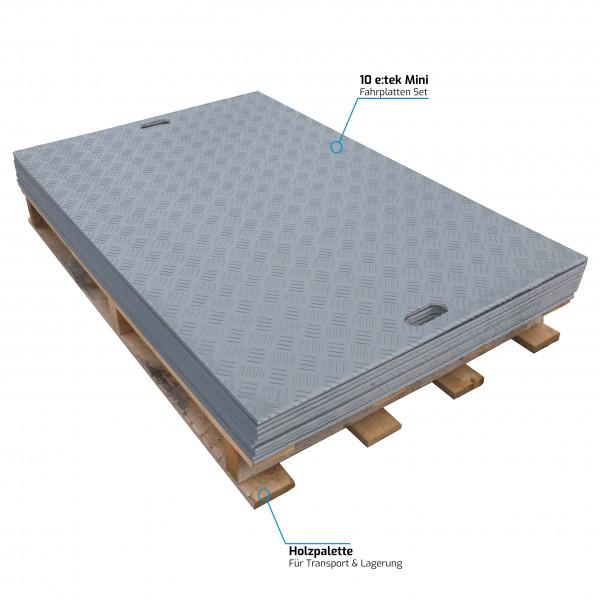 e:tek Mini · 10er Fahrplatten Set aus Kunststoff · 1500 x 1000 x 12 mm · 1,50 m² · Belastbar bis ca. 15 Tonnen