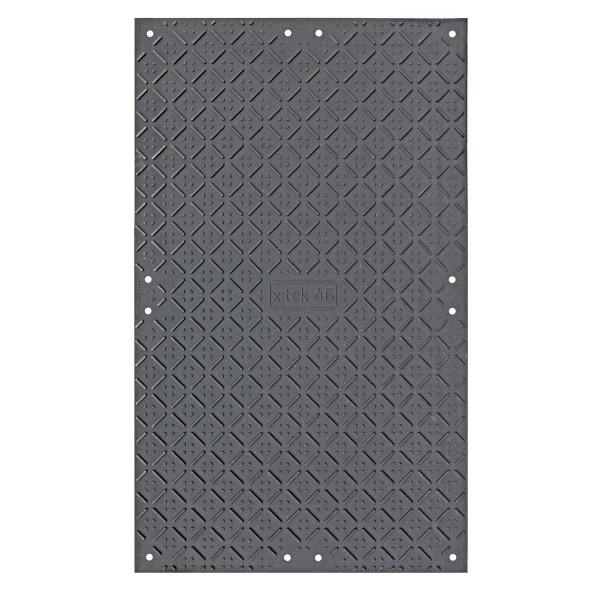 x:tek 46 · Hochleistungs - Fahrplatte · 2000 x 1220 mm· 2,44m² · Belastbarkeit bis zu 85t** · Beidseitig profiliert · 12 Verbindungslöcher · smartGrip Profil & Kanäle · HDPE Kunststoff