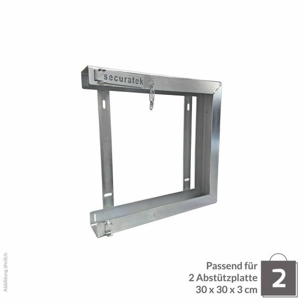 Doppelhalterung für Abstützplatte 300 x 300 x 30 · 5,00 kg · 334 x 314 x 78 · 0,11 m² · verzinkter Stahl · 3,0, 5,0 Materialstärke