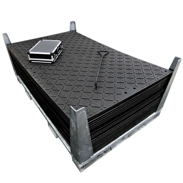 x:tek 46 · 20er Fahrplatten Set Inhalt: 20 Platten a 2,44m² = 48,80m² mit 40 Einzelverbinder Stahl im Koffer, Handhaken, inkl. Stahlpalette und Sicherungswinkeln (Klappwinkel & Radsatz optional)