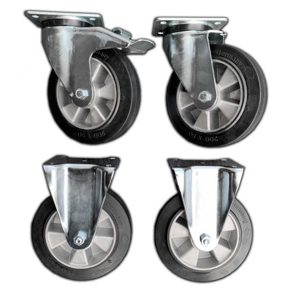 Lenkbarer Radsatz um Fahrplatten oder Bodenschutzplatten im Smart Store Transportgestell bzw. Transportbox ohne Gabelstapler oder Radlader bewegen zu können.