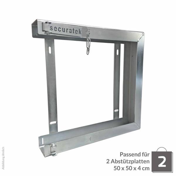 Doppelhalterung für Abstützplatte 500 x 500 x 40 · 8,90 kg · 533 x 533 x 105 · 0,28 m² · verzinkter Stahl · 3,0, 5,0 Materialstärke