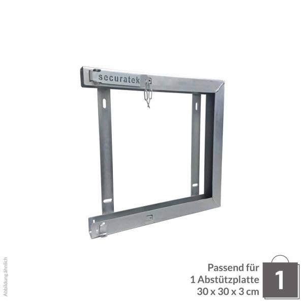 Einzelhalterung für Abstützplatte 300 x 300 x 30 · 4,20 kg · 334 x 314 x 47 · 0,11 m² · verzinkter Stahl · 3,0, 5,0 Materialstärke