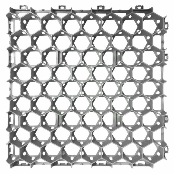 Rasenwabe RW40 · 0,25 m² · 500 x 500 x 40 mm · 350,0 t/m² · 0,80 kg · 1,00mm Profilierung · 16 Kopplungen · 60 mm Gitteröffnungsweite · On-Sub Verlegung · Drainage