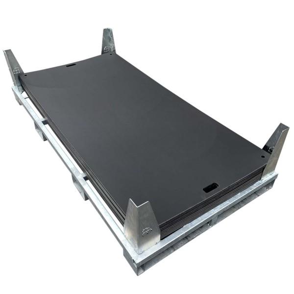 e:tek EVO · 10er Fahrplatten Set - Inhalt: 10 Platten a 2,53m² = 25,30m² bzw. 23,00 lfm., inkl. Stahlpalette und Sicherungswinkeln (Verbinder, Klappwinkel & Radsatz als Zubehör empfohlen)