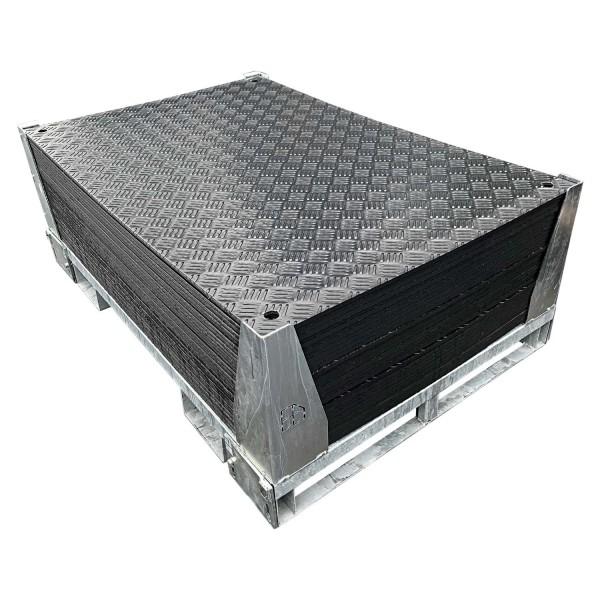 e:tek MINI · 30er Fahrplatten Set · Inhalt: 30 Platten a 1,50m² = 45,00m² inkl. Stahlpalette mit Sicherungswinkeln. Verbinder, Klappwinkel und Radsatz optional als Zubehör erhältlich.