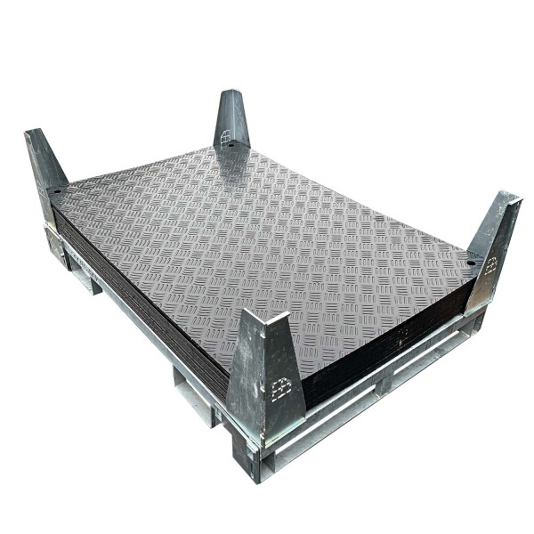 e:tek Mini · 10er Fahrplatten Set aus Kunststoff (15 m²) · 1500 x 1000 x 12 mm · 1,50 m² · Belastbar bis ca. 15t** · Einseitig profiliert · 4 Verbindungslöcher · LDPE Kunststoff