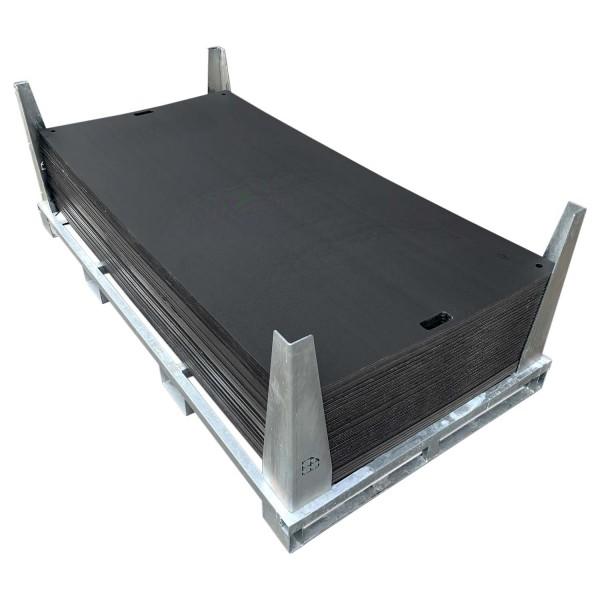e:tek EVO · 30er Fahrplatten Set - Inhalt: 30 Platten a 2,53m² = 75,90m² bzw. 69,00 lfm., inkl. Stahlpalette und Sicherungswinkeln (Verbinder, Klappwinkel & Radsatz als Zubehör empfohlen)