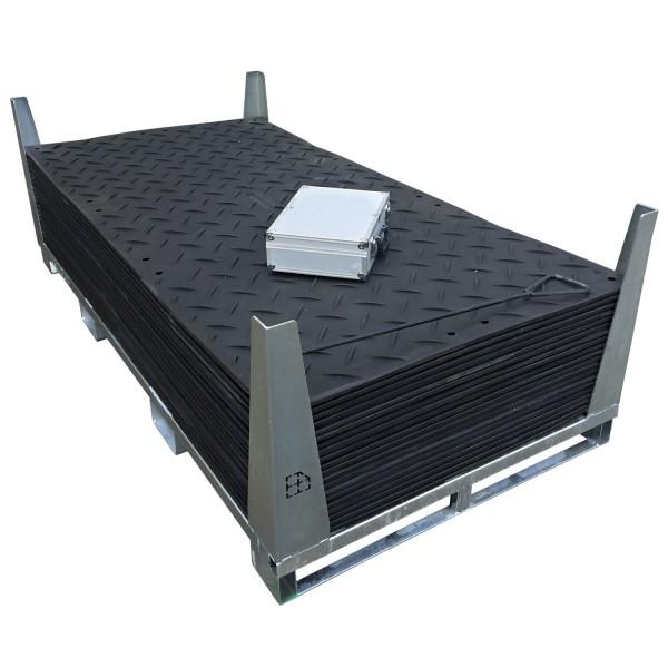 s:tek 48 · 20er Komplett-Set Bodenschutzplatten - Inhalt: 20 Platten a 2,98m² = 59,60m² mit 40 Einzelverbinder Stahl im Koffer inkl. Stahlpalette und Sicherungswinkeln (Klappwinkel & Radsatz optional)