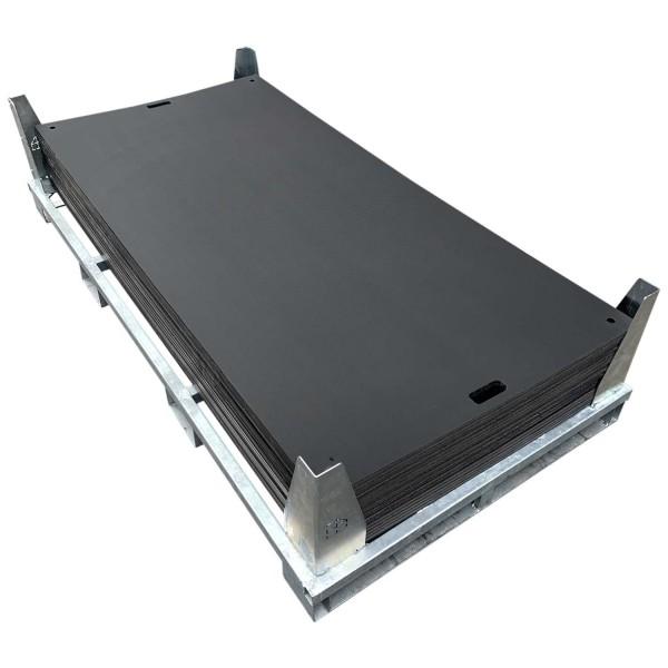 e:tek EVO · 20er Fahrplatten Set - Inhalt: 20 Platten a 2,53m² = 50,60m² bzw. 46,00 lfm., inkl. Stahlpalette und Sicherungswinkeln (Verbinder, Klappwinkel & Radsatz als Zubehör empfohlen)