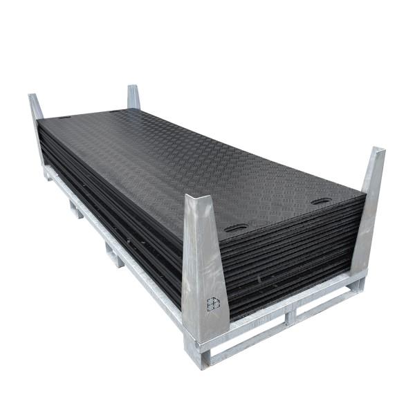 e:tek PRO • 20er Fahrplatten-Set (60,00 m²) · inkl. Fahrplattenbox · 20 mm starke Fahrplatten · 3000 x 1000 x 20 mm · belastbar bis ca. 45 Tonnen