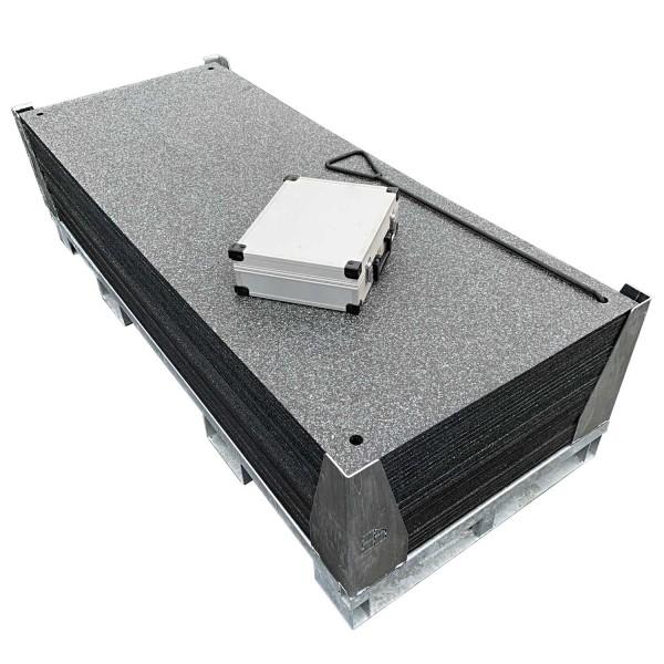 v:tek MINI · 30er Komplett Set Fahrplatten · Inhalt: 30 Platten a 1,60m² = 48,00m² mit 60 Einzelverbinder Stahl im Koffer, Handhaken, inkl. Stahlpalette und Sicherungswinkeln (Klappwinkel & Radsatz optional)