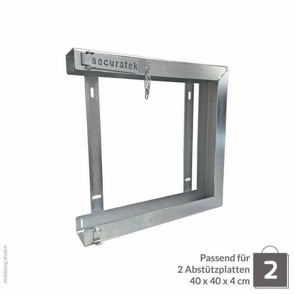 Doppelhalterung für Abstützplatte 400 x 400 x 40 · 7,20 kg · 432 x 432 x 11 · 0,17 m² · verzinkter Stahl · 3,0, 5,0 Materialstärke