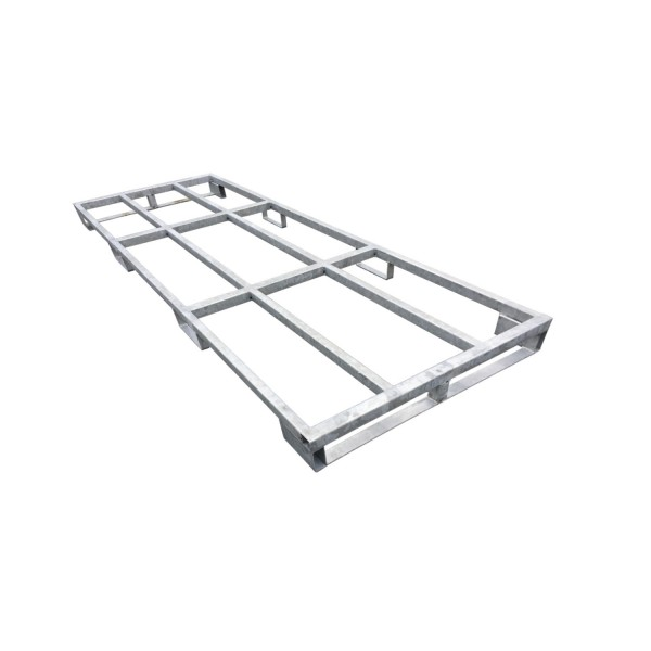 Stahlpalette · Transportgestell ZSP13 aus verzinktem Stahl passend für e:tek PRO · lange Fahrplatte