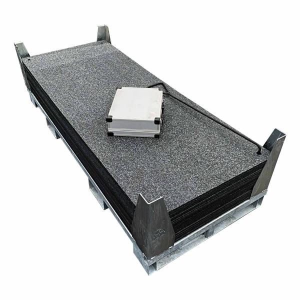 v:tek MINI · 20er Komplett Set Fahrplatten · Inhalt: 20 Platten a 1,60m² = 32,00m² mit 40 Einzelverbinder Stahl im Koffer, Handhaken, inkl. Stahlpalette und Sicherungswinkeln (Klappwinkel & Radsatz optional)