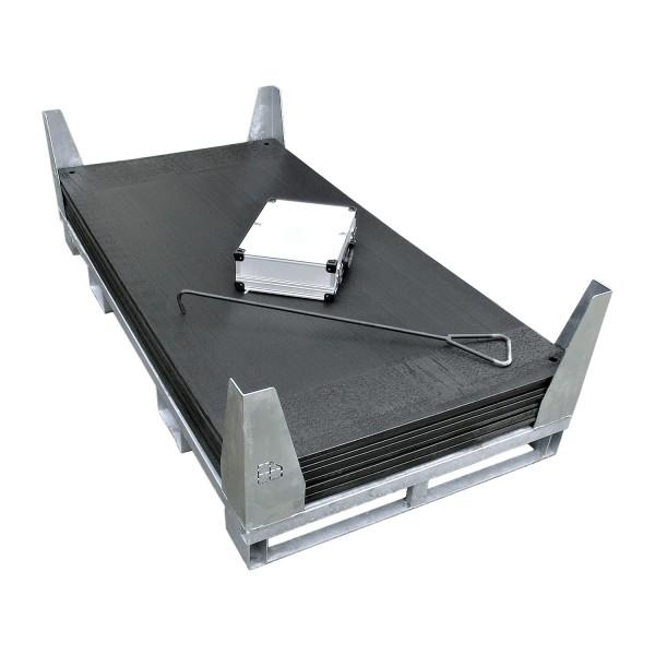 v:tek PRO · 10er Komplett-Set Fahrplatten Inhalt: 10 Platten a 2,00m² = 20,00m² mit 20 Einzelverbinder Stahl im Koffer, Handhaken, inkl. Stahlpalette und Sicherungswinkeln (Klappwinkel & Radsatz optional)