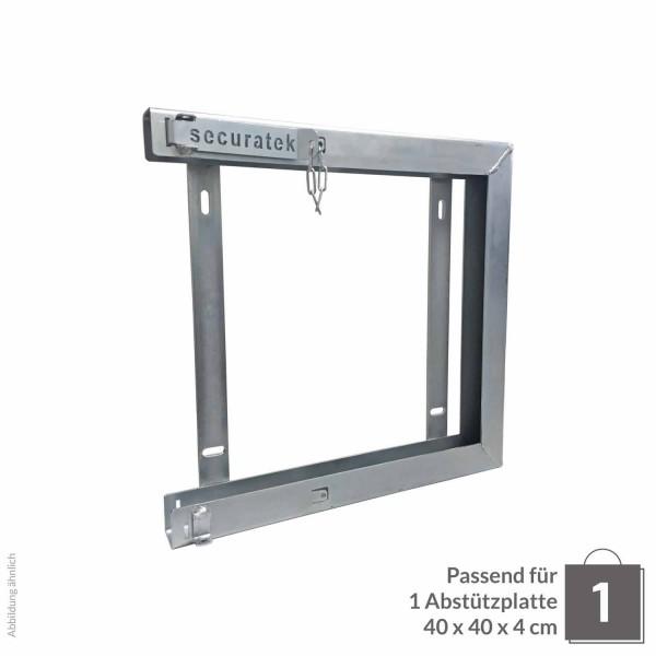 Einzelhalterung für Abstützplatte 400 x 400 x 40 · 5,70 kg · 432 x 417 x 57 0,18 m² · verzinkter Stahl · 3,0, 5,0 Materialstärke
