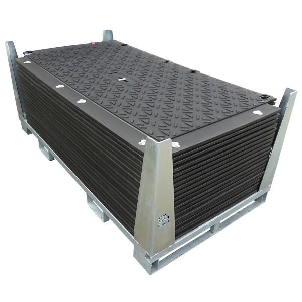 MaxiTrack MT130 · 20er Komplett-Set Schwerlast Fahrplatten · 32,40 m² · 36,00 lfm · 6mm beidseitige Profilstruktur · Belastbar bis ca. 130 Tonnen